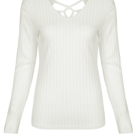 Sexy V Neck Hollow-out White Knitting Pullovers
