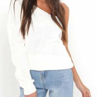 Euramerican Dew Shoulder Long Sleeve Asymmetrical White Cotton Blends Sweater