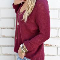 Euramerican V Neck Long Sleeves Wine Red Knitting Sweaters