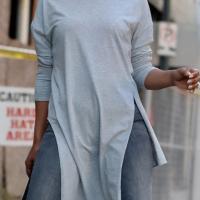 Euramerican Round Neck Asymmetrical Grey Velvet T-shirt