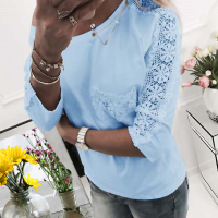 Leisure Round Neck Lace Patchwork Blue Cotton Blends T-shirt