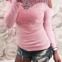 Sexy Round Neck Cold-shoulder Lace Patchwork Pink Cotton T-shirt