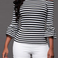Trendy Bateau Neck Striped White Polyester T-shirt
