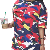 Stylish Round Neck Half Sleeves Printed Polyester T-shirt