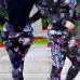 Euramerican Hooded Collar Flowers Printed Black Cotton Two-piece Pants Set