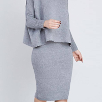 Euramerican Turtleneck Long Sleeves Grey Two-piece Skirt Set