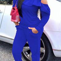 Fashionable Round Neck Dew Shoulder Ruffle Design Blue Polyester Hoodies