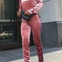 Leisure Dew Shoulder Patchwork Pink Velvet Two-piece Pants Set