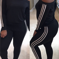 Leisure Dew Shoulder Striped Patchwork Black Milk Fiber Two-piece Pants Set