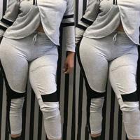 Leisure Patchwork Grey Blending Two-piece Pants Set