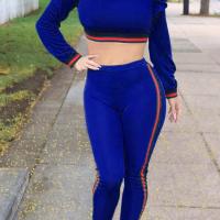 Leisure Round Neck Falbala Design Blue Knitting Two-piece Pants Set