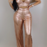 Sexy Spaghetti Strap Sleeveless Gold Blending Two-piece Pants Set