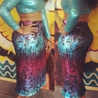 Sexy Turtleneck Gradient Sequins Decoration Blue Polyester Two-piece Skirt Set