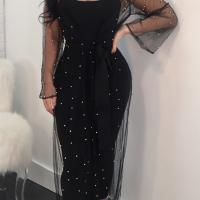 Sexy U Neck See-Through Black Linen Mid Calf Dress(With Coat)