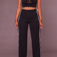Sexy V Neck Side Split Black Polyester Two-piece Pants Set