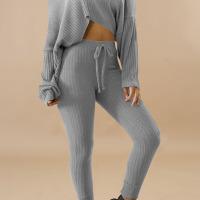 Stylish Sloping Shoulder Drawstring Grey Cotton Two-Piece Pants Set