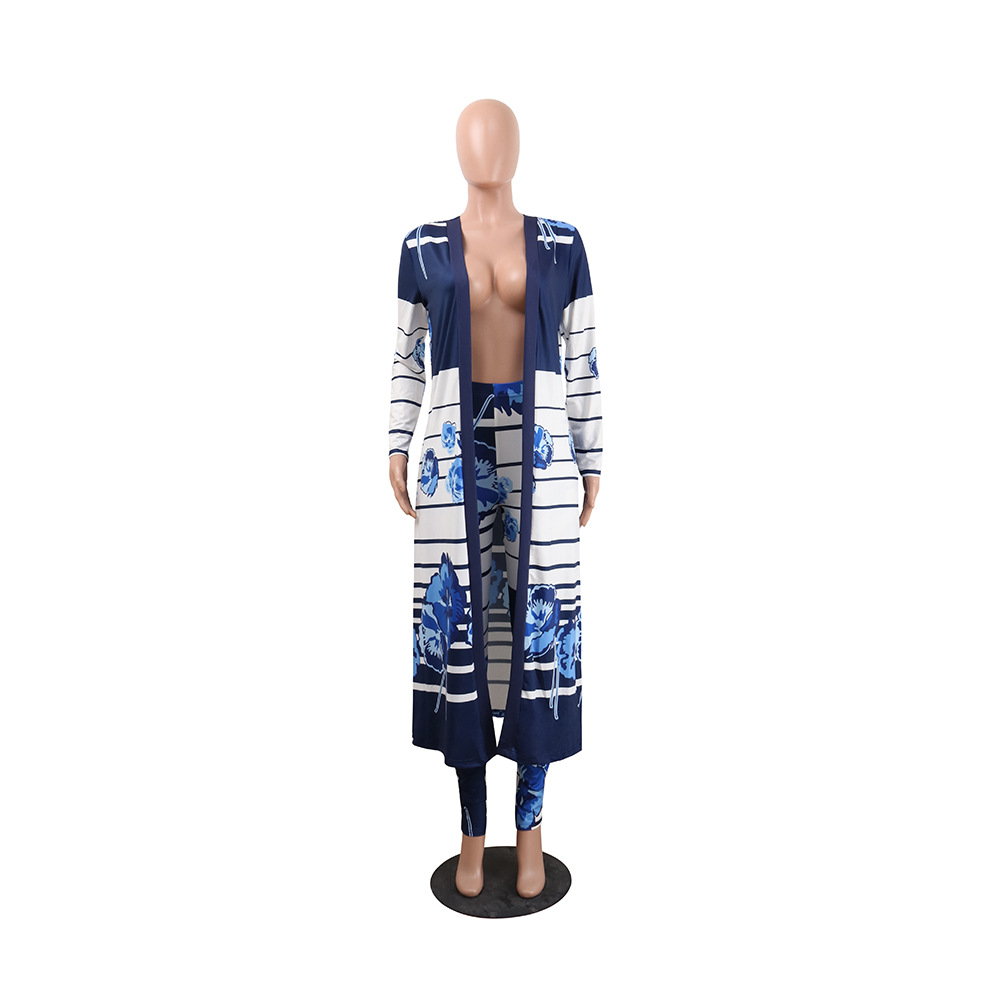 Best selling European and American sexy printed cardigan long-sleeved two-piece nightclub clothing #94962