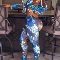 Euramerican V Neck Long Sleeves Printed Blue Milk Fiber Two-piece Pants Set