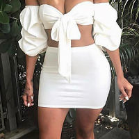 Sexy Dew Shoulder White Polyester Two-piece Skirt Set