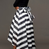 Stylish Round Neck Long Sleeves Striped Black Cotton Blend Two-piece Skirt Set