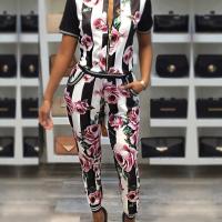 Trendy Printed Patchwork Black Cotton Two-piece Pants Set