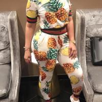 Trendy Round Neck Pineapple Printing White Cotton Two-piece Pants Set